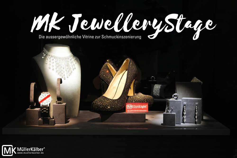 MK Jewellery Stage Schmuckvitrine Inszenierung mit LED-Beleuchtung