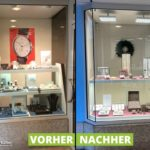 Schaufenster von Juwelier Horz, vorher und nachher