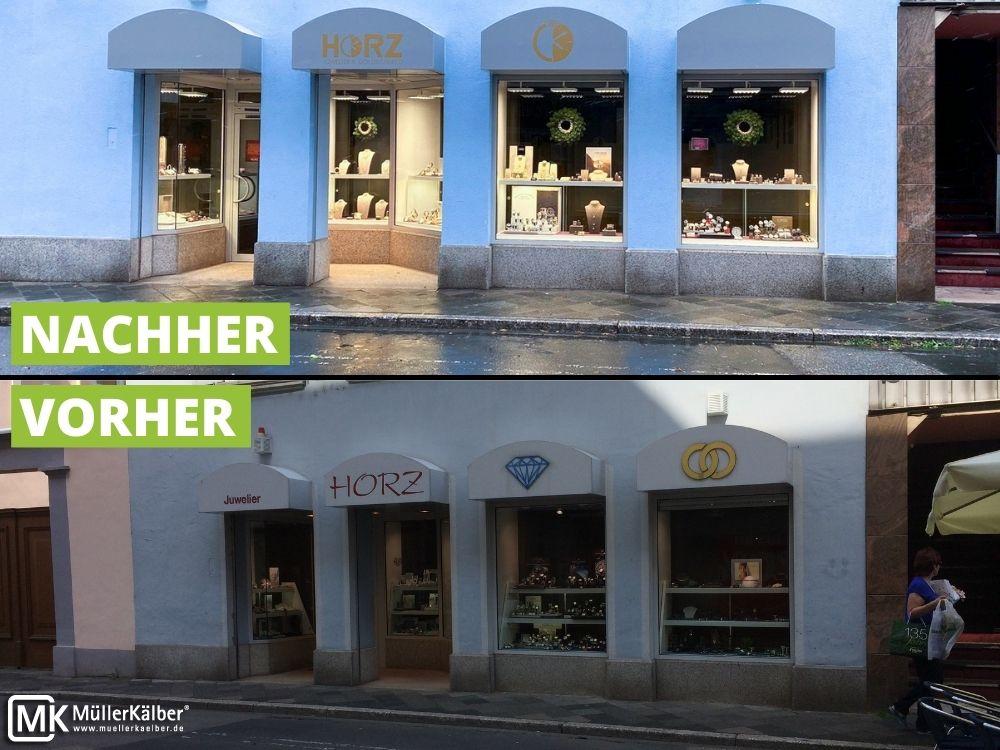 Schaufenster von Juwelier Horz, vorher und nachher, der Laden sieht nun geöffnet aus