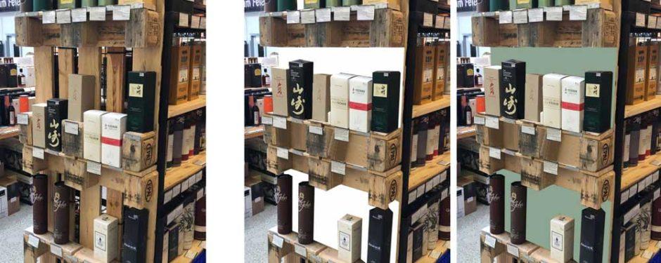 Präsentation von hochwertigen Flaschen