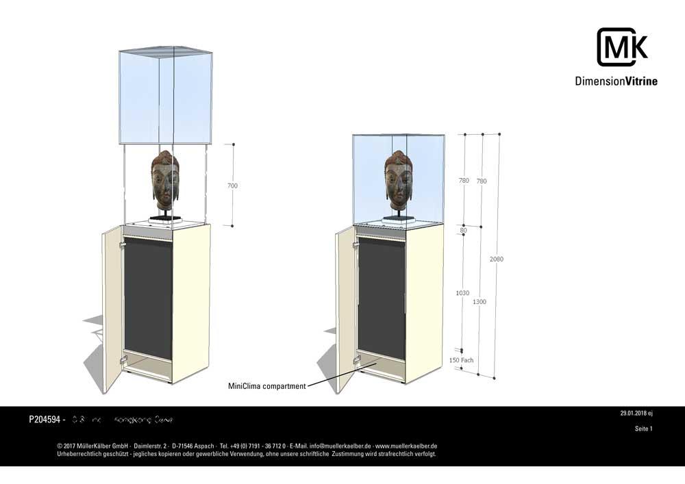 Zeichnung der grösseren Hubvitrine mit aktiver Klimatisierung