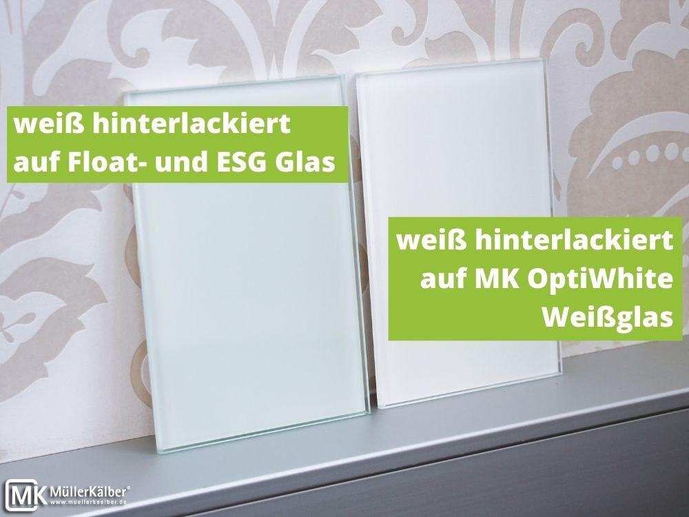 Hinterlackiertes MK OptiWhite und ESG-Glas im Vergleich